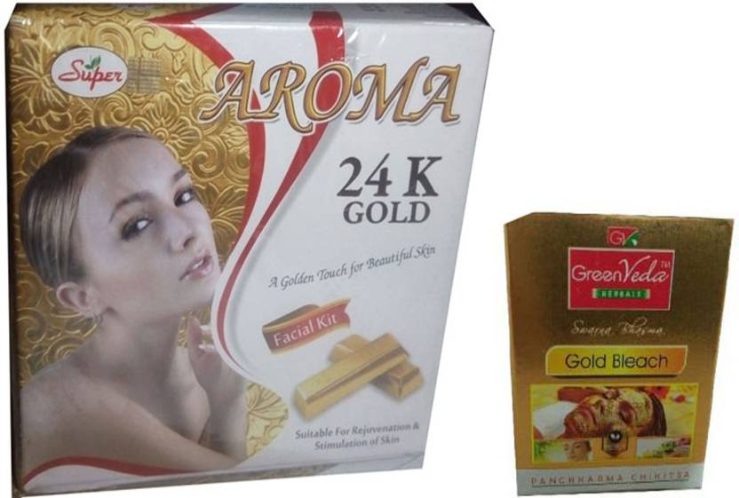 Super Aroma 24K Gold Facial Kit (5 in 1) 280g. + Gold Bleach 300g. Net 580  g (Set of 5)