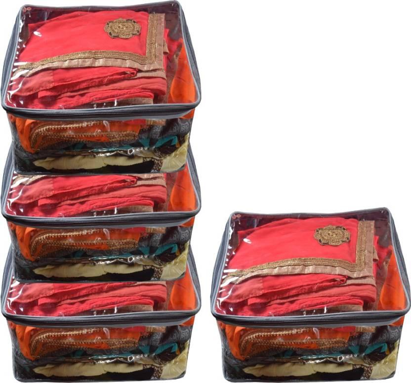 32184749e1d Aadhya Multipurpose Plain Large Transparent Saree Cover Salwar Kamiz Suit  Bag Pck of 4 (White) (Clear)