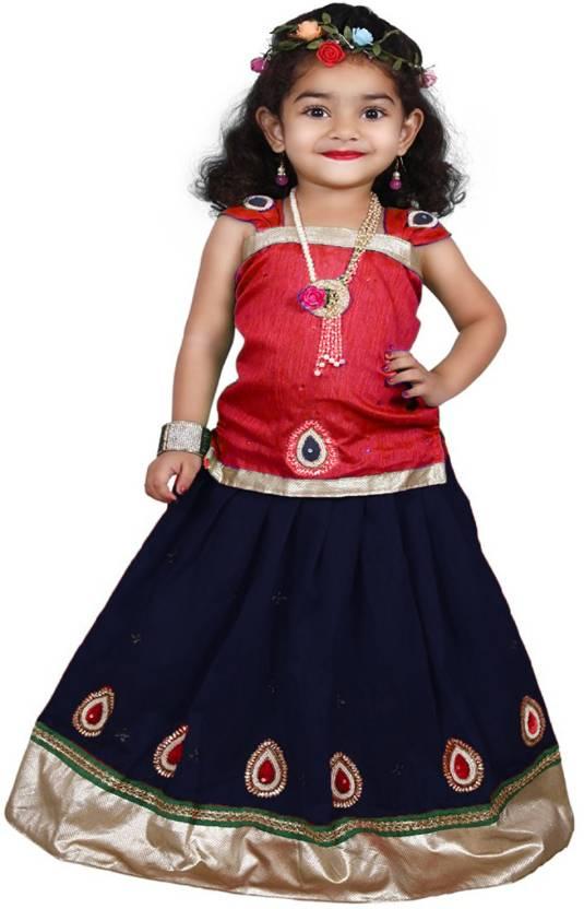 3980aacaf3 Wommaniya Impex Girl's Lehenga Choli Ethnic Wear, Party Wear Embellished Lehenga  Choli (Red, Pack of 1)