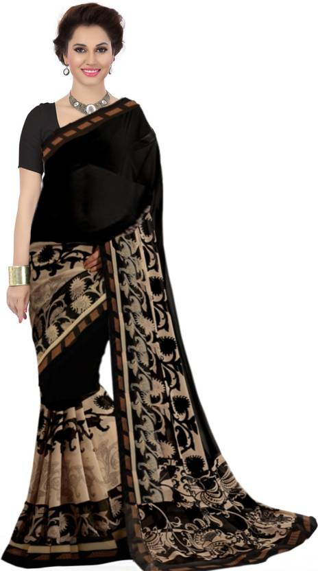 aad01608c6 Buy Ishin Printed Fashion Synthetic Georgette Black Sarees Online ...