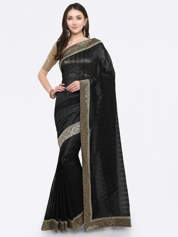 9cf32640b34a70 Divastri Embroidered Fashion Silk Cotton Blend Saree (Black, Silver)