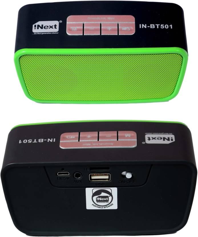 Inext 501 BT FM USB/ SD Portable Bluerooth speakar BGT-963 (GREEN)