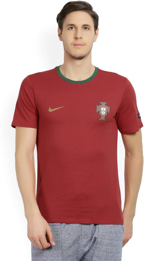 acheter populaire 49103 9e785 Nike Portugal Solid Men Round Neck Red T-Shirt