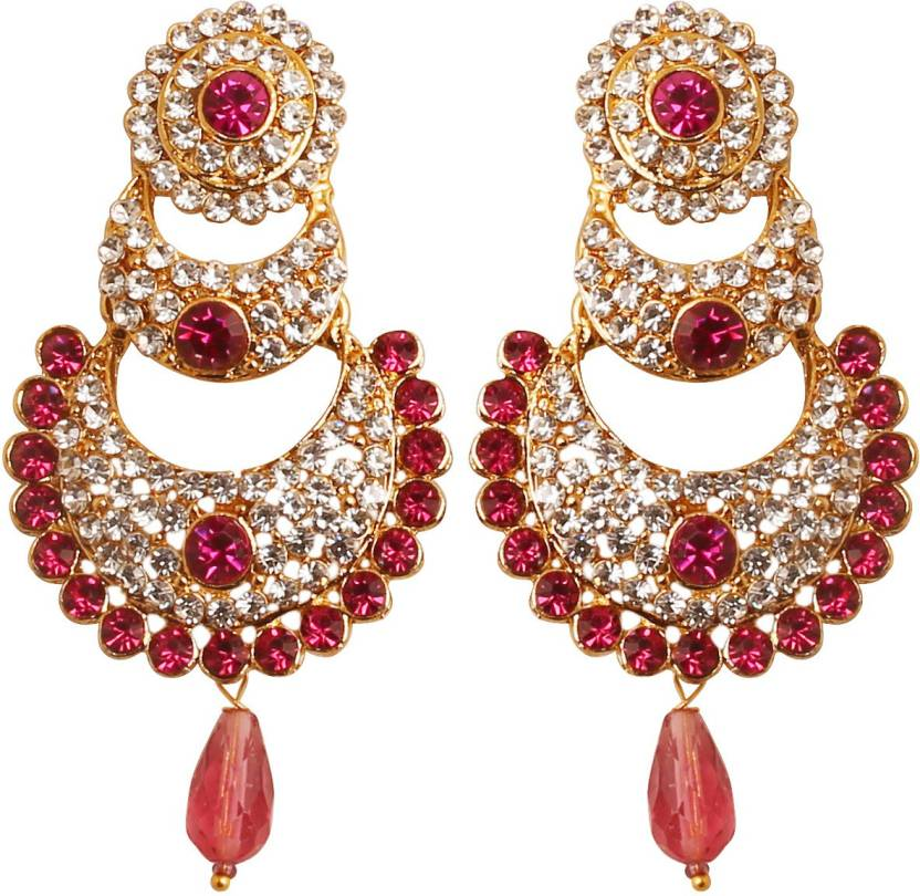 d5fed9704 Touchstone Touchstone Indian Bollywood White Crystals And Pink Fuchsia  Chaand Bali Moon Designer Jewelry Chandelier Earrings In Antique Gold Tone  For Women ...