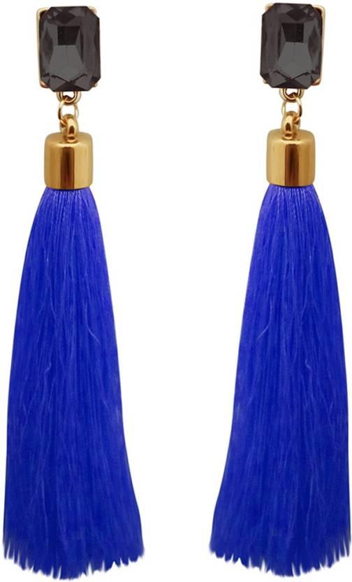19429683d Flipkart.com - Buy Kriaa by JewelMaze Blue Thread Gold Plated Tassel  Earrings -1313331D Alloy Tassel Earring Online at Best Prices in India