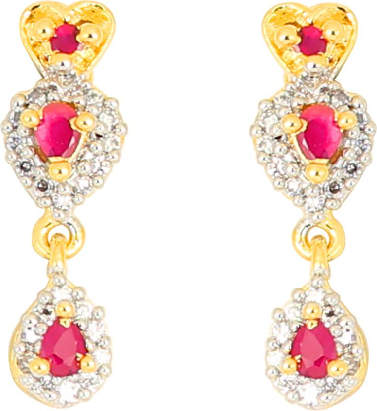 dca21e639 Flipkart.com - Buy Touchstone Touchstone Pink & Yellow Hanging Earrings  Brass Chandelier Earring Online at Best Prices in India