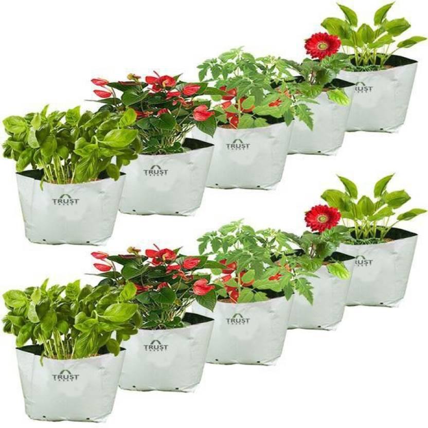 Trustbasket Set Of 10 Large Poly Grow Bags Uv Ilized 24cms L X24cms W X40cms H Bag