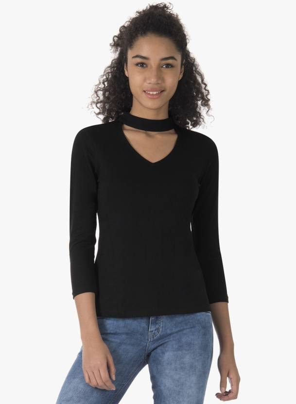 d96b73bbc58 FabAlley Casual 3 4th Sleeve Solid Women s Black Top - Buy FabAlley Casual  3 4th Sleeve Solid Women s Black Top Online at Best Prices in India