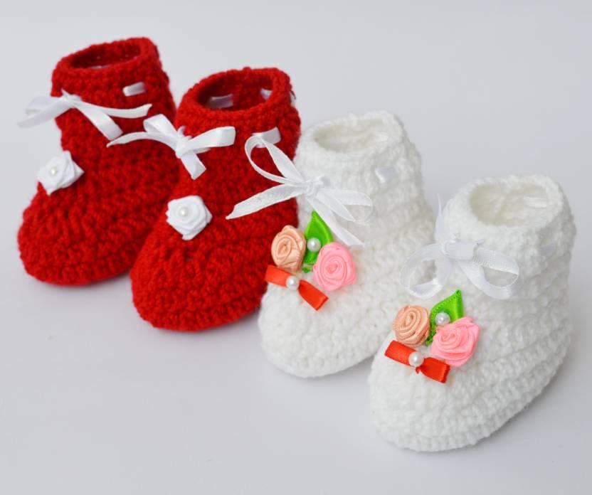 Love Crochet Art Crochet Baby Booties Woolen Booties For 6 To 12