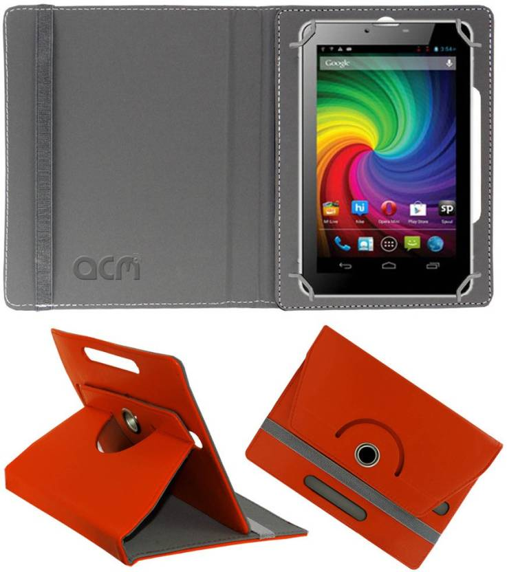 ACM Flip Cover for Micromax Funbook Mini P410i Orange, Cases with Holder