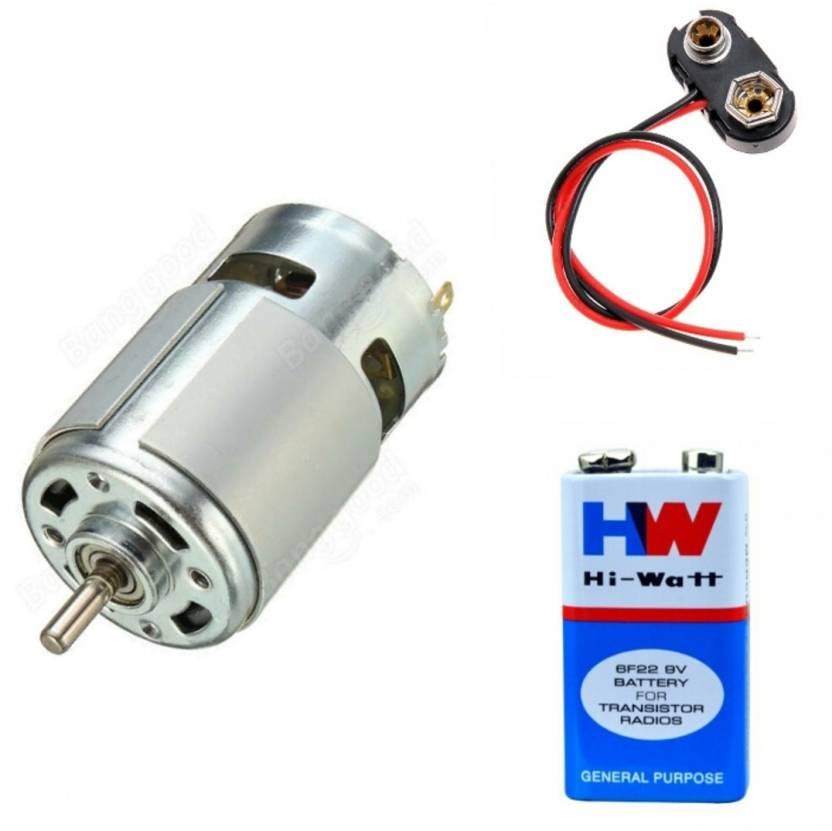 BOOSTY 12 volt Dc Motor and 1 pcs 9 VOLTS HW BATTERY and 1 Pc Connector,  HI-WATT 100% Original 6F22 9V Long Life Carbon Zinc Batterie