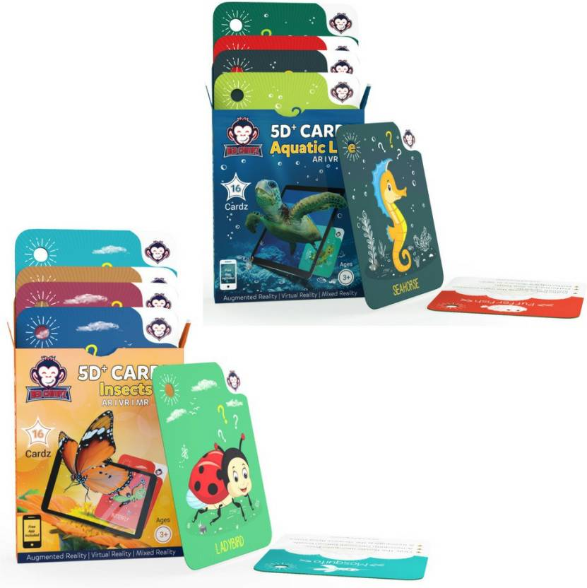RedChimpz Aquatic Life + Insects | Age 3-10 Years | Ideal Return Gift for Boys & Girls | Augmented and Virtual Reality Based Learning Toy | Combo Offer of 2 ...