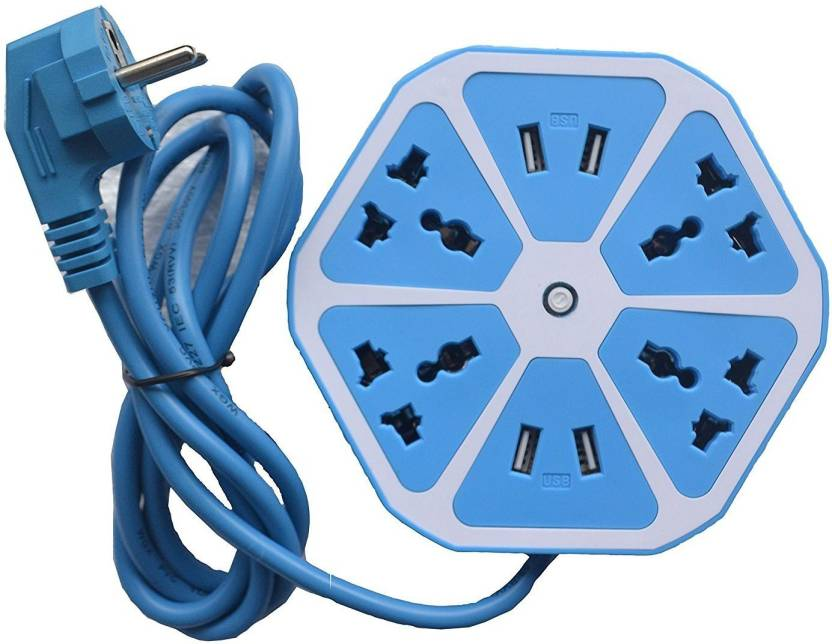 Azacus Hexagon Socket Extension Board With 4 Usb 20amp Charging