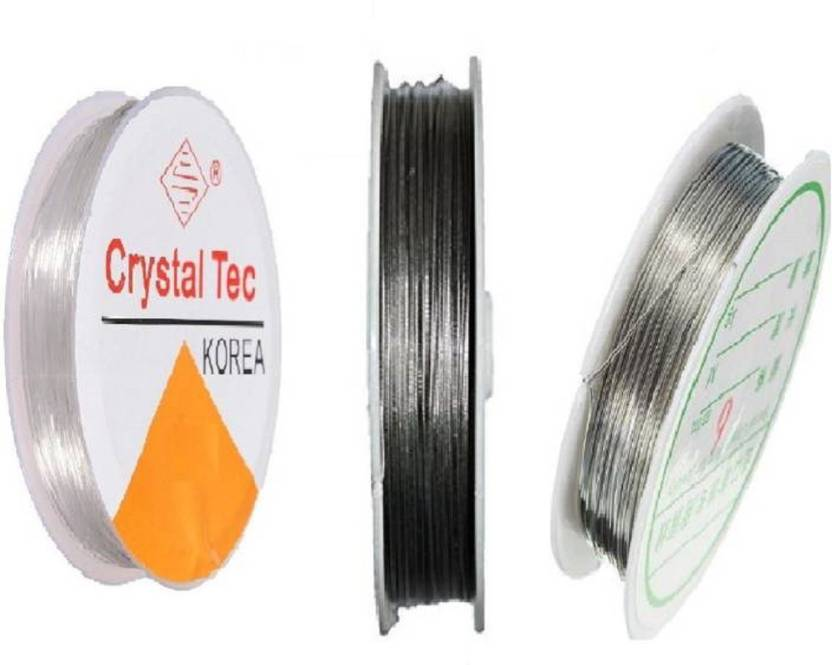 puffy Gear Wire/Tiger Tail, Copper Wire & Elastic Wire Clear Combo - Silver