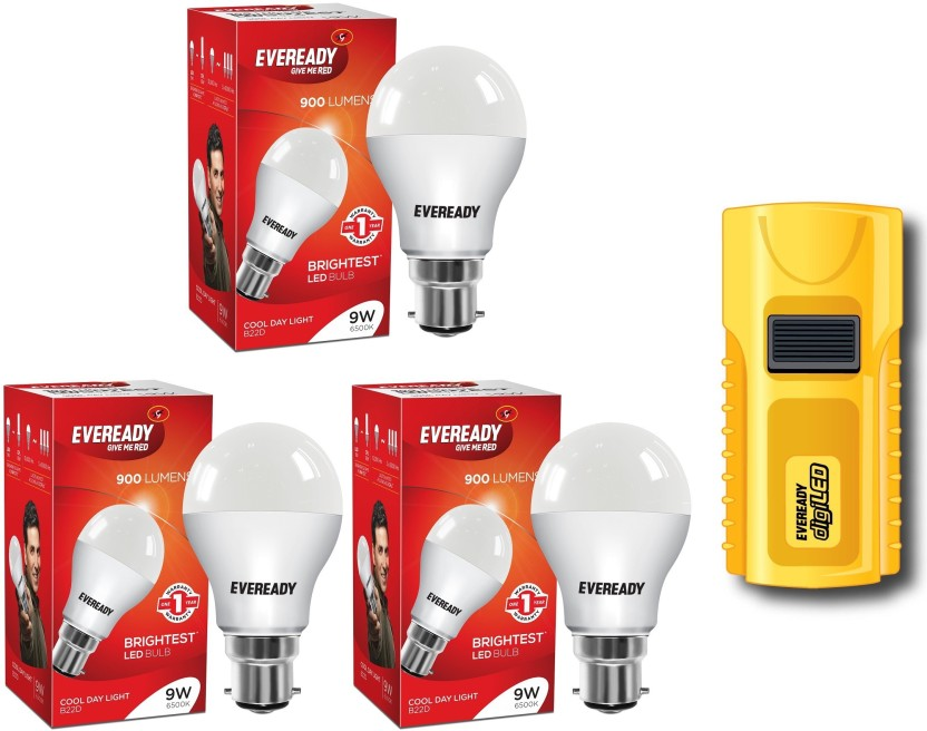 Eveready 9W Pack of 3 With LED Pocket Torch Combo