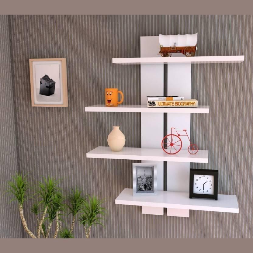 Sunshine Wood Mdf Floating Laminated Ladder Shape 4 Tier Designer Wall Rack Shelf