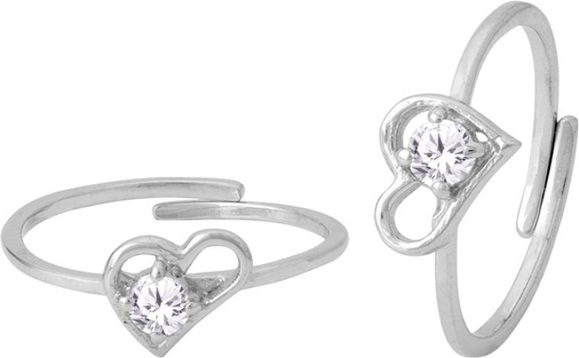 abfb6a786f156 Voylla Beautiful Heart Designer Toe Ring For Women Sterling Silver ...