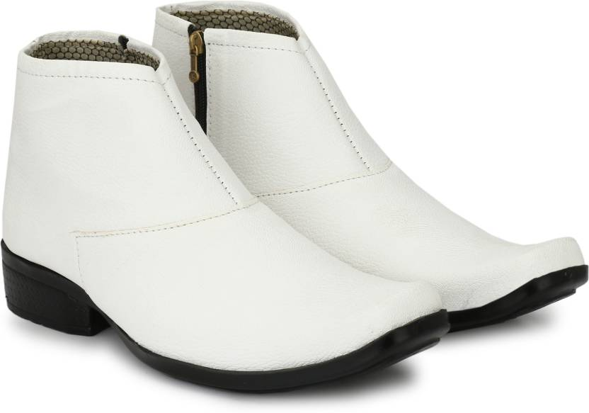 Shoe Island ® POPULAR Chelsea-X ™ White Leatherette Zipper High Ankle  Length Casual Chelsea Boots Boots For Men (White 6d0f71976082