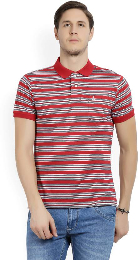 32417204cbb Parx Striped Men Polo Neck Multicolor T-Shirt - Buy Red Parx Striped Men  Polo Neck Multicolor T-Shirt Online at Best Prices in India