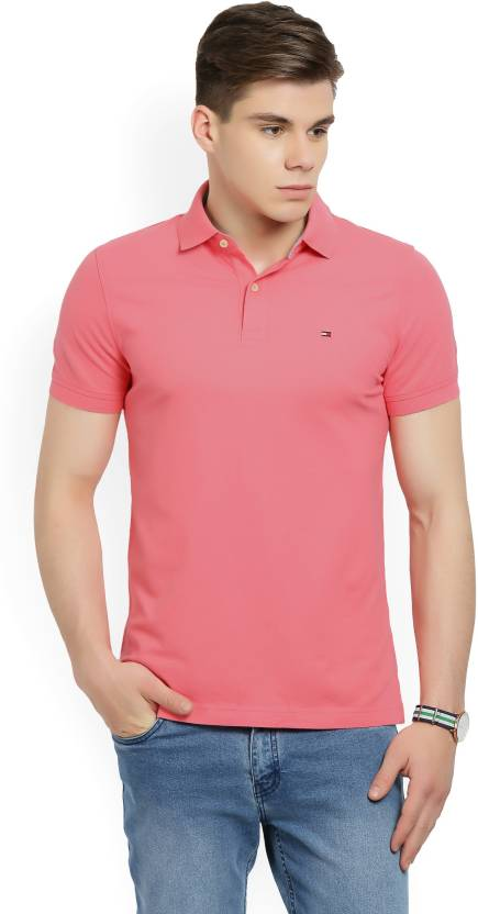 Tommy Hilfiger Pink Solid Polo Collar T Shirt