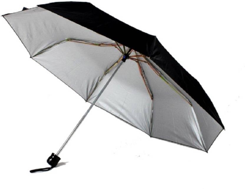 8f1d31114dc91 Sahaya Tri/Three Fold Black Umbrella - for protection against Rain & Sun  Umbrella (Black)