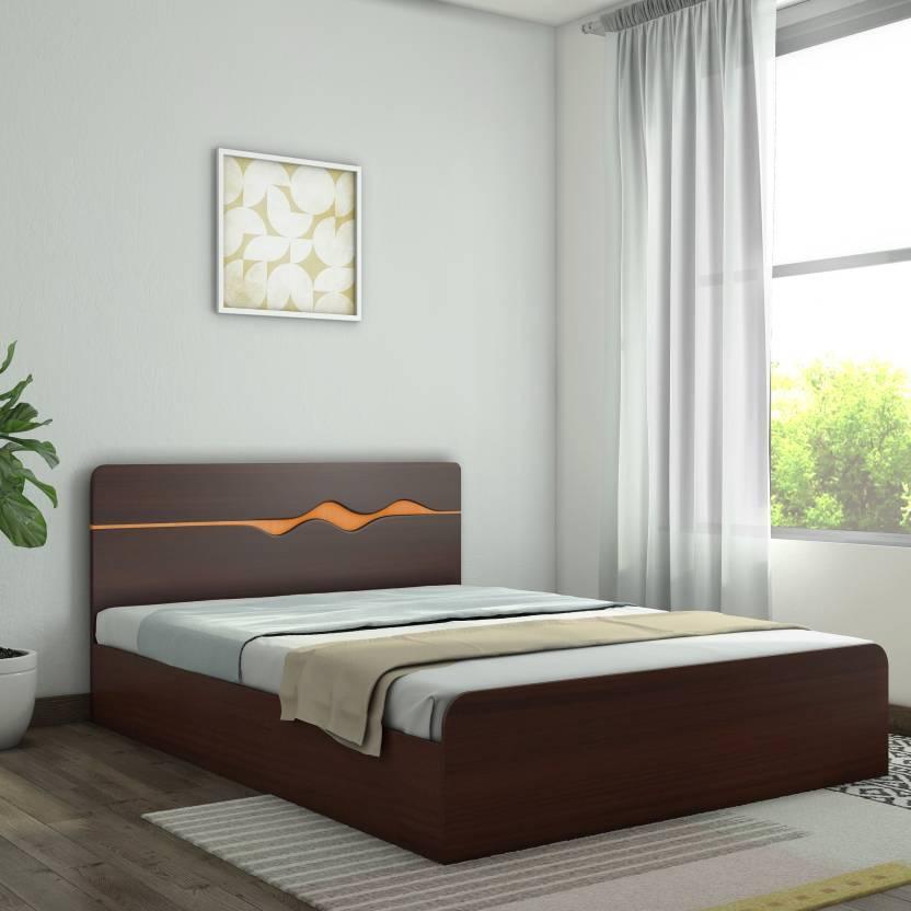 HomeTown Swirl Engineered Wood Queen Box Bed Price in India - Buy ...