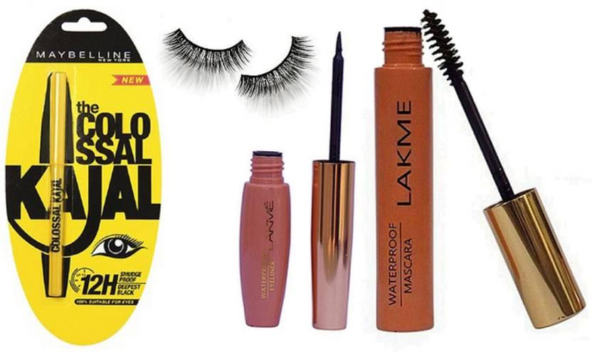 cea96bc11fc studio Of Eyelashes, Lakme 9 To 5 Waterproof Mascara + Liquid Eyeliner  Black & Maybelline New York The Colossal Kajal (Set of 4)