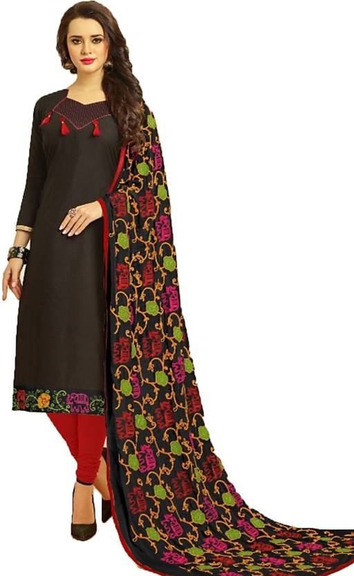 718ee4f05d Smitha Creations Cotton Embroidered Salwar Suit Dupatta Material  (Un-stitched)