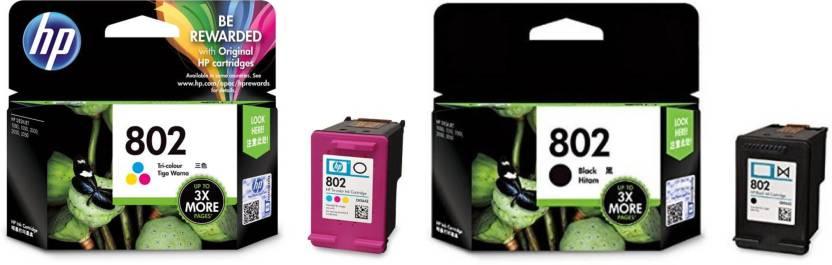 hp 802 Black &Tricolor Ink Cartridge Multi Color Ink Cartridge