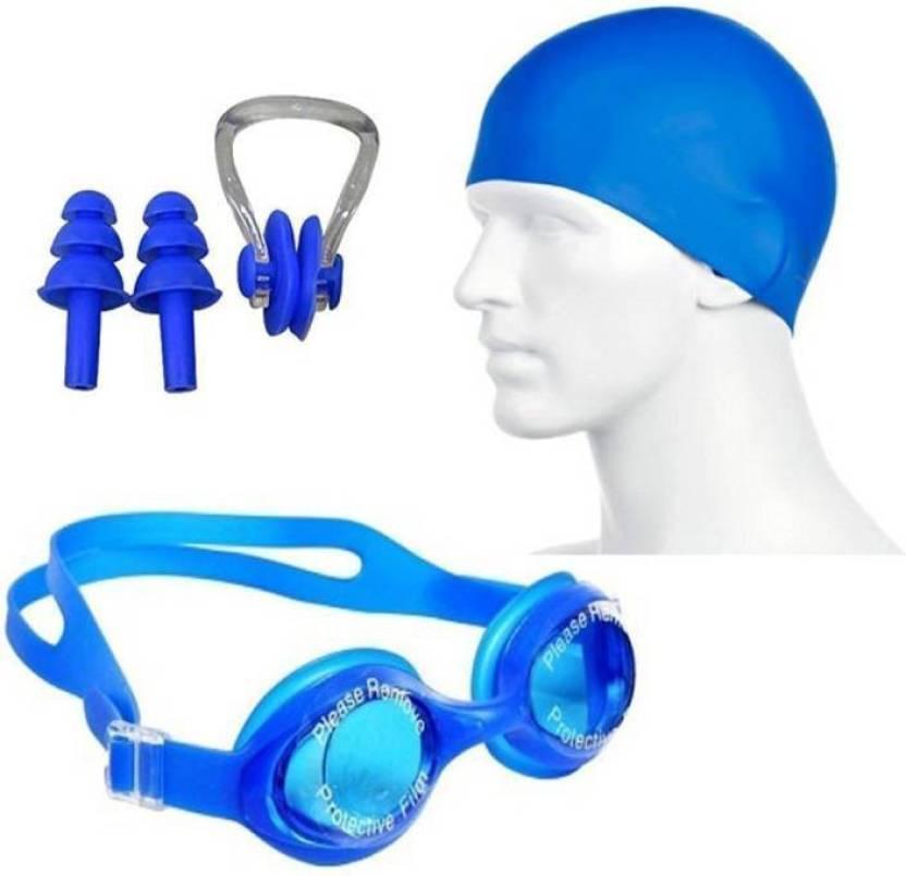 6da82c1965ec Hipkoo AQUATIC SWIMMING GOGGLES, CAP & EAR, NOSE PLUGS (ADULTS & CHILDREN)  Swimming Kit