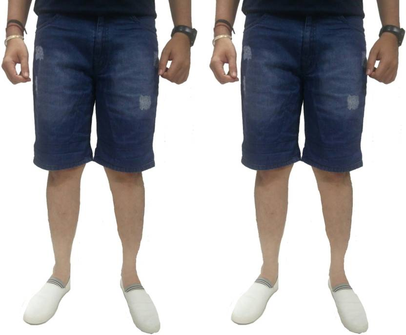 89d9bf1763823 Bruzone Distressed Men Blue Denim Shorts - Buy Bruzone Distressed Men Blue Denim  Shorts Online at Best Prices in India