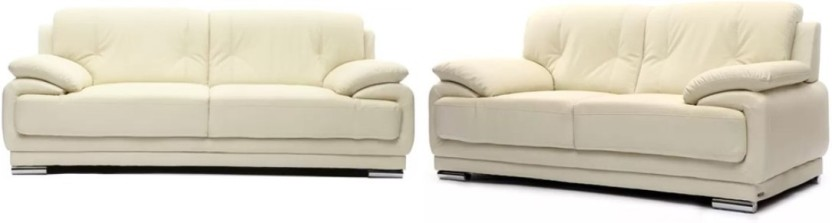 Furny Rocco Sofa Set Leatherette 3 + 2 Cream Sofa Set