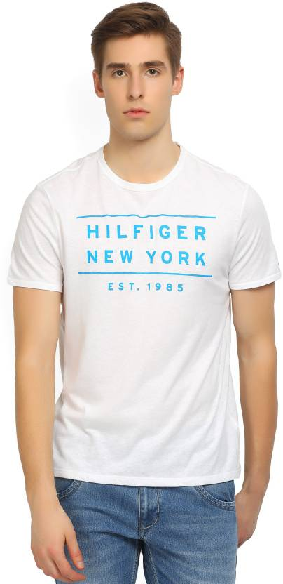 a913acdd5 Tommy Hilfiger Printed Men s Round Neck White T-Shirt - Buy White Tommy  Hilfiger Printed Men s Round Neck White T-Shirt Online at Best Prices in  India ...