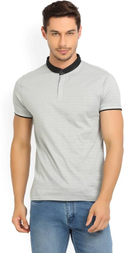 97882769e8 V Dot by Van Heusen Printed Men s Mandarin Collar Grey T-Shirt - Buy grey V  Dot by Van Heusen Printed Men s Mandarin Collar Grey T-Shirt Online at Best  ...