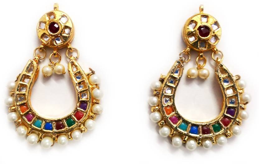 Flipkart com - Buy Indian Mores Pearl Enamel Chandbali Earring