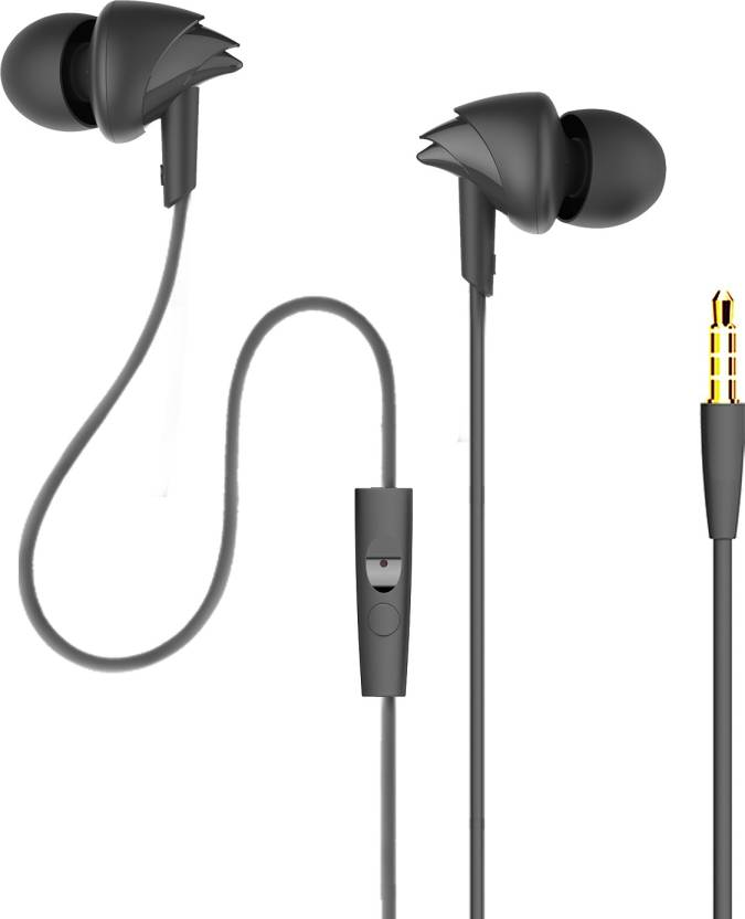 Boat Bassheads 100 Wired Headset With Mic  (Black, In The Ear)