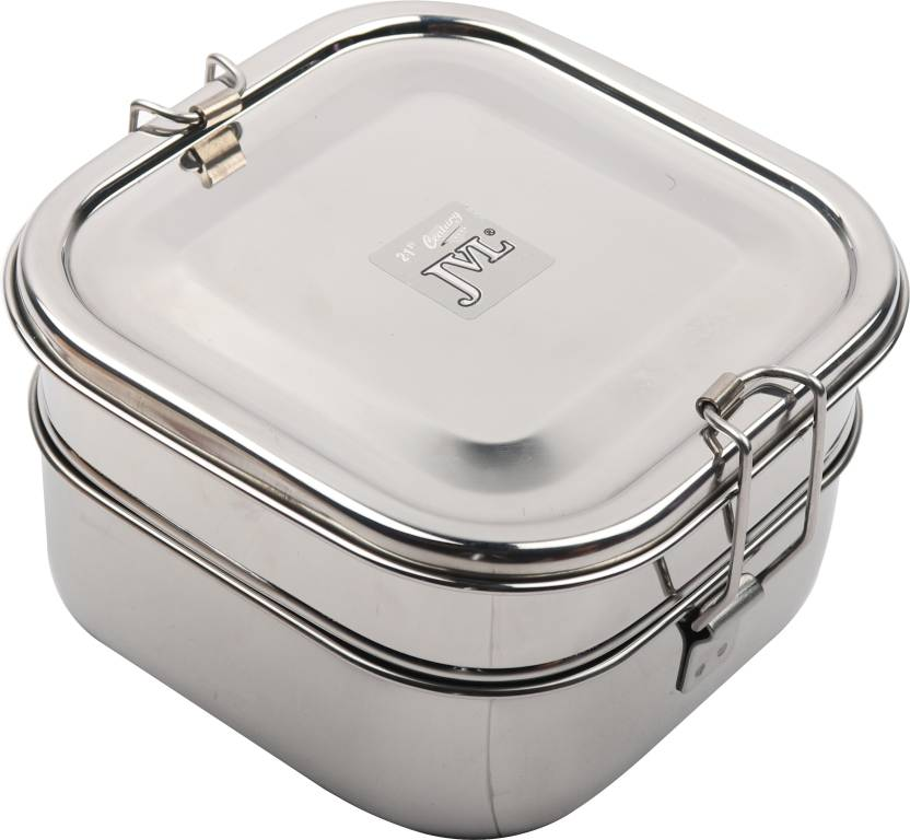 c97a356d3288 JVL Stainless Steel Square Shaped Double Decker Lunch Box - Big Size 3  Containers Lunch Box