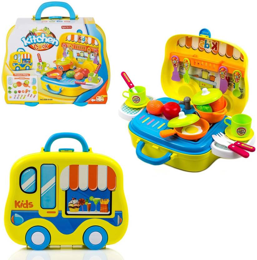 ddae3ec0248c Wishkey Little Chef Kitchen Cooking Food Pretend Play Learning Educational  Tool Set Kids Toy for Girls To Play at Home With Travelling Suitcase -  Little ...