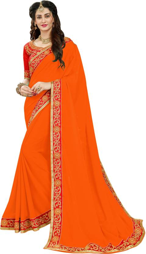 fbfed6d131 Buy Manohari Embroidered Fashion Pure Georgette Orange Sarees Online ...