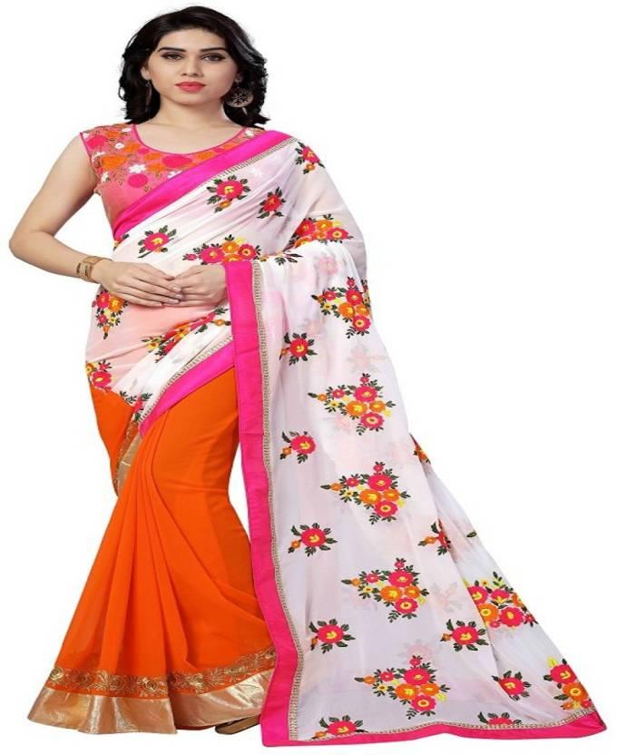 8f902843f3ef37 Buy Pari mantra Embroidered Bollywood Georgette Orange Sarees Online ...
