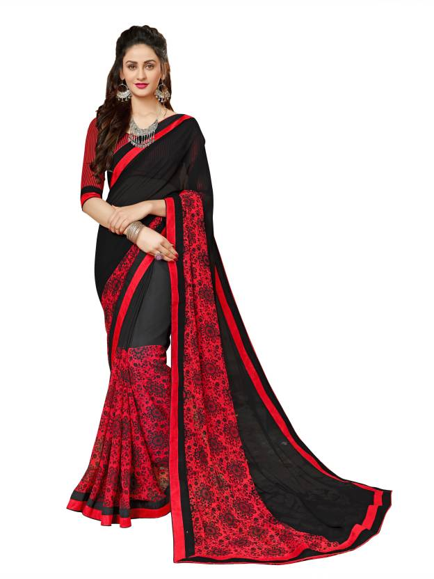 6a766e7455 Buy Sutram Printed Fashion Georgette Black, Red Sarees Online @ Best ...