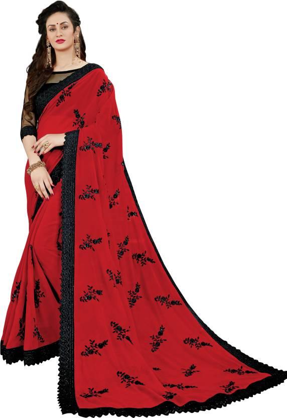 7779381c50 Manohari Embroidered, Applique Fashion Georgette Saree (Red, Black)