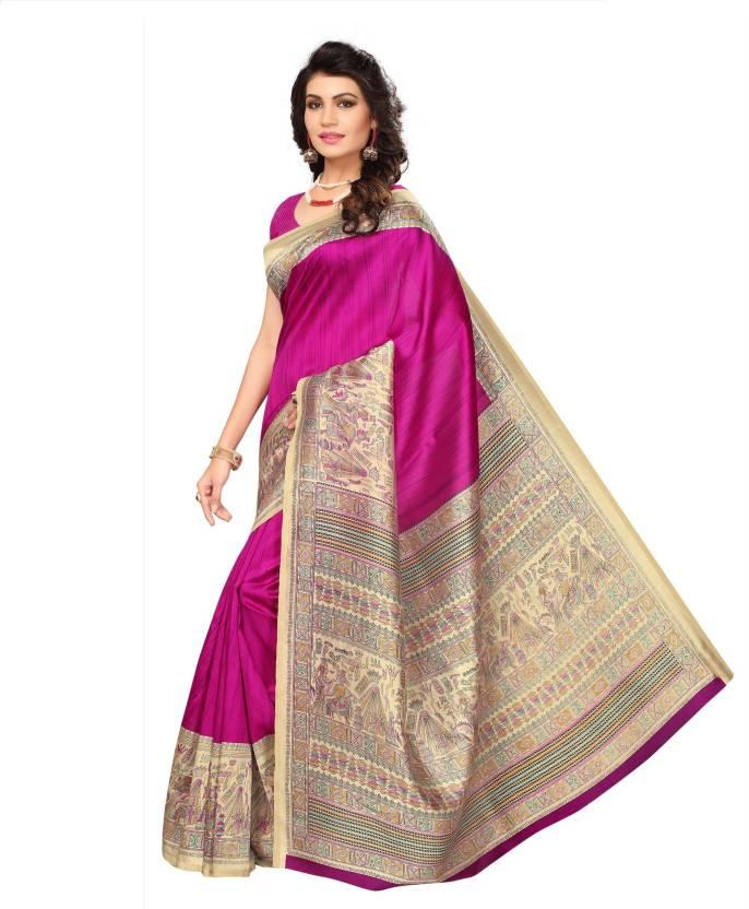 b9059370fa4a76 Buy C J 129 Printed Kalamkari Art Silk Pink Sarees Online @ Best ...