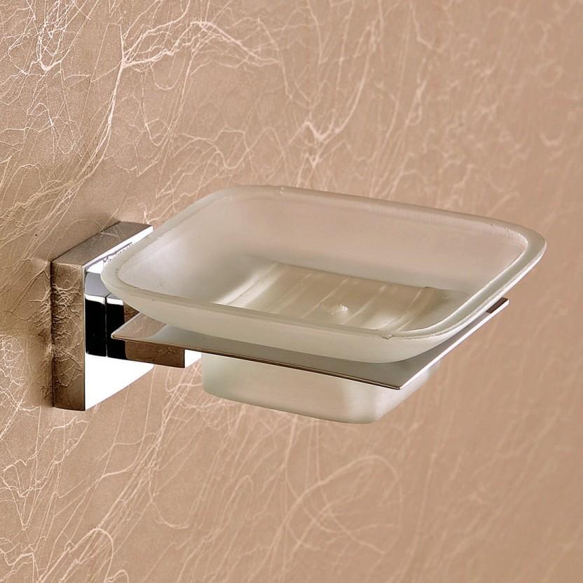 Bathroom Soap Dish Wall Mount Brass Glass Soap Rack Shelf Toilet Soap Dish