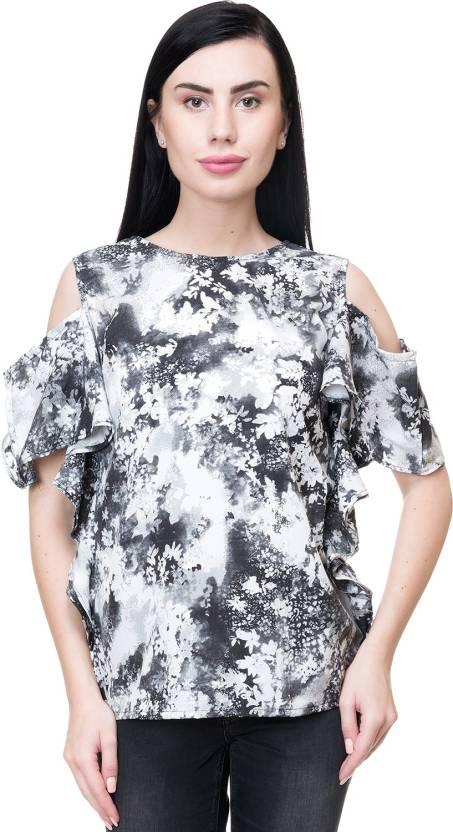 89e1d55783c98a Emeros Party Cold Shoulder Tie   Dye Women s Black