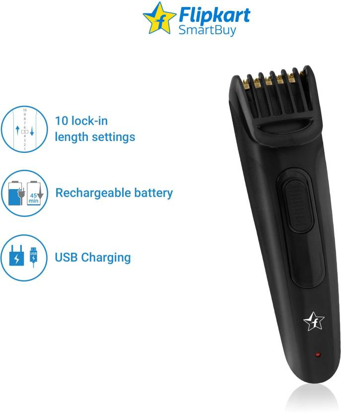 Flipkart SmartBuy ProCut Cordless + Titanium Coated USB Trimmer for Men (Black)