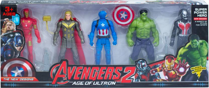 Apurbas Avengers Infinity War Set of Five Action Figures Iron Man, Hulk,  Captain America, Thor and ANT MAN