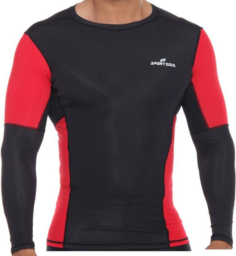e4d1f300 SportSoul Nylon Compression Gym T-shirt for Men Compression (Black, Red  Full Sleeve)