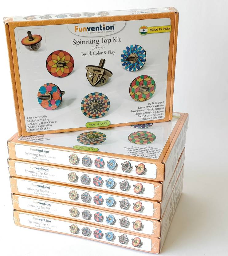 Funvention pack of 6 spinning top kits set of 6 diy fidget funvention pack of 6 spinning top kits set of 6 diy fidget spinner solutioingenieria Images
