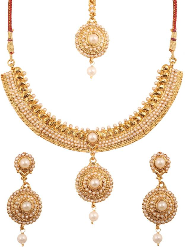 fbed8f78a5 Touchstone Touchstone Ethnic South Indian Stunning Look Exclusive Style  Designer Bridal Jewelry Necklace Set Embellished With